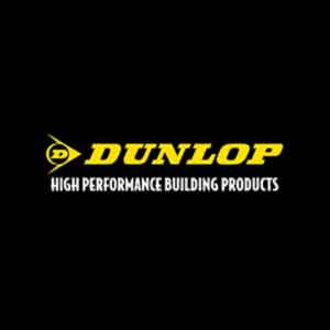 dunlop logo with black background and yellow text